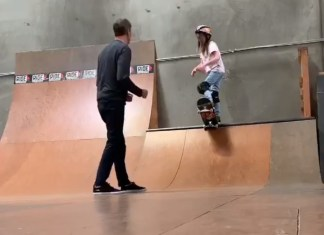 Tony Hawk Nervously Teaches His 10-Year-Old Daughter On Skate Ramp