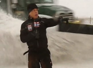 Free Beer and Hot Wings Reporter Blasted With Snow As Plow Drives By During Live Shot