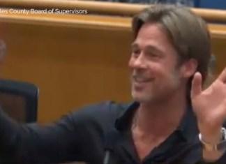 Brad Pitt Awkwardly Cut Off During LA County Board Supervisor