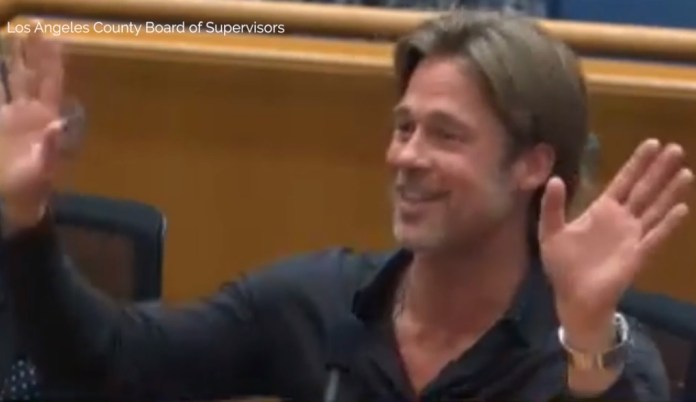 Brad Pitt Awkwardly Cut Off During LA County Board Supervisor
