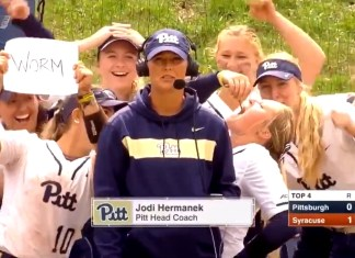 University Of Pittsburgh Softball Player Eats Worm On Live TV