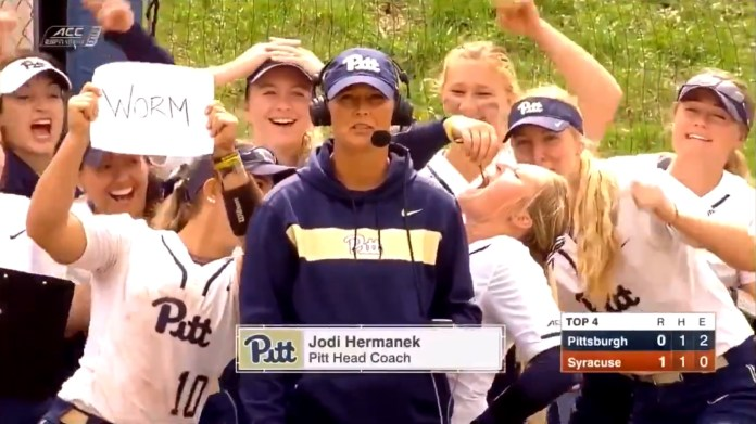 University Of Pittsburgh Softball Player Eats Worm On Live TV