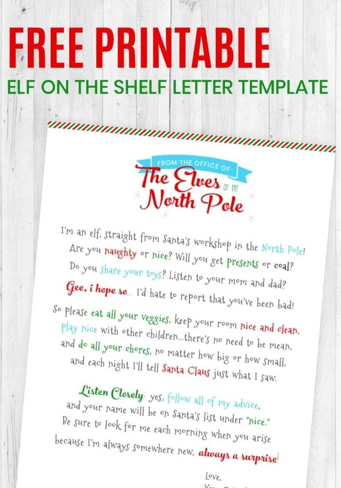 Free Printable Elf On The Shelf Letter Templateelf On The Shelf
