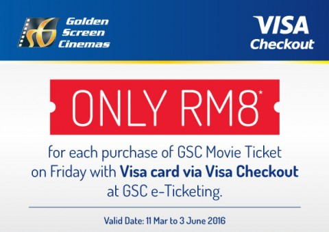 GSC - RM8 movie ticket Promotion Via Visa