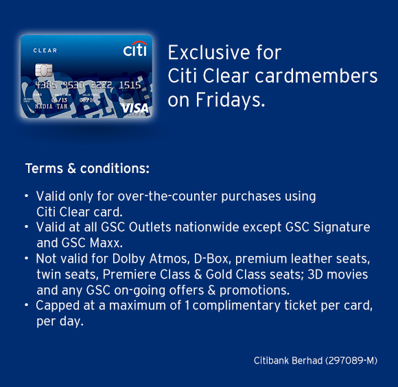 GSC - Citi Clear Card Buy 1 free 1 Promotion on Friday