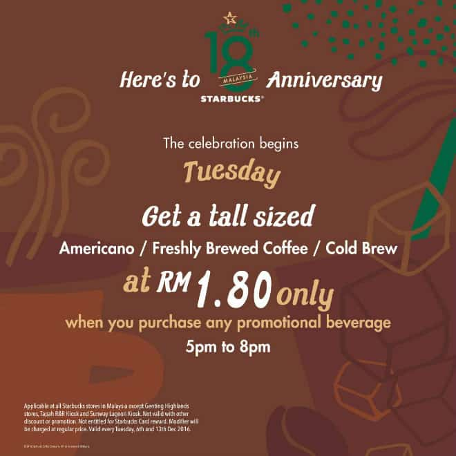 Starbucks RM1.80 Tuesday Promotion! Celebrating 18th Anniversary
