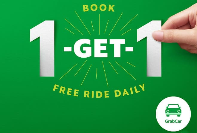 GrabCar Free Ride - Book 1 and Get 1 free ride daily