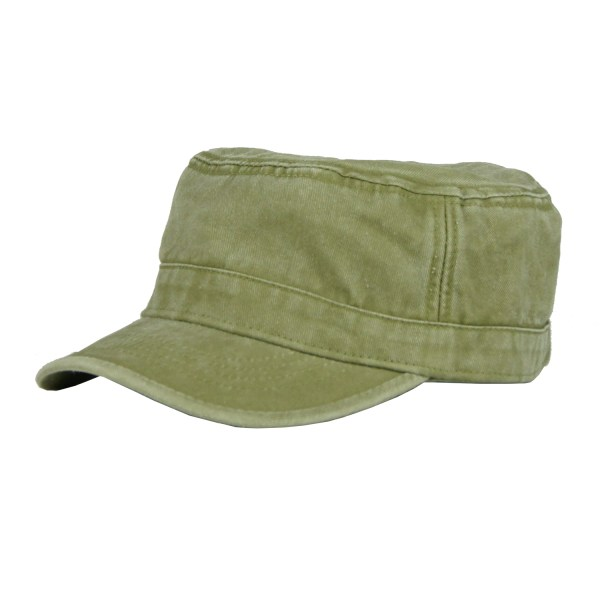 Low Profile Cotton Flat Top Peaked Army Military Cadet Cap 17088