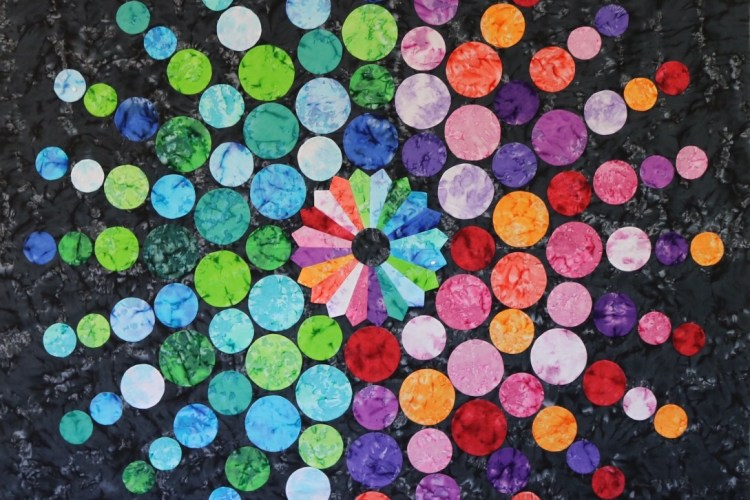 Circling circles quilt – geodes fabric