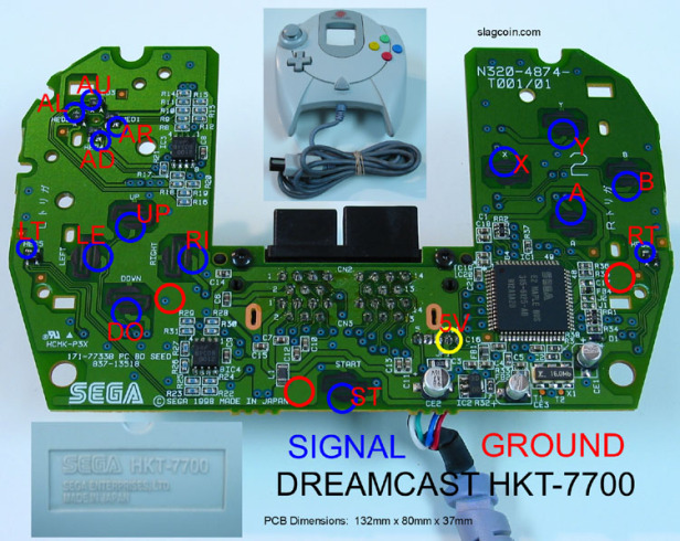 Esquema mando sega dreamcast arcade