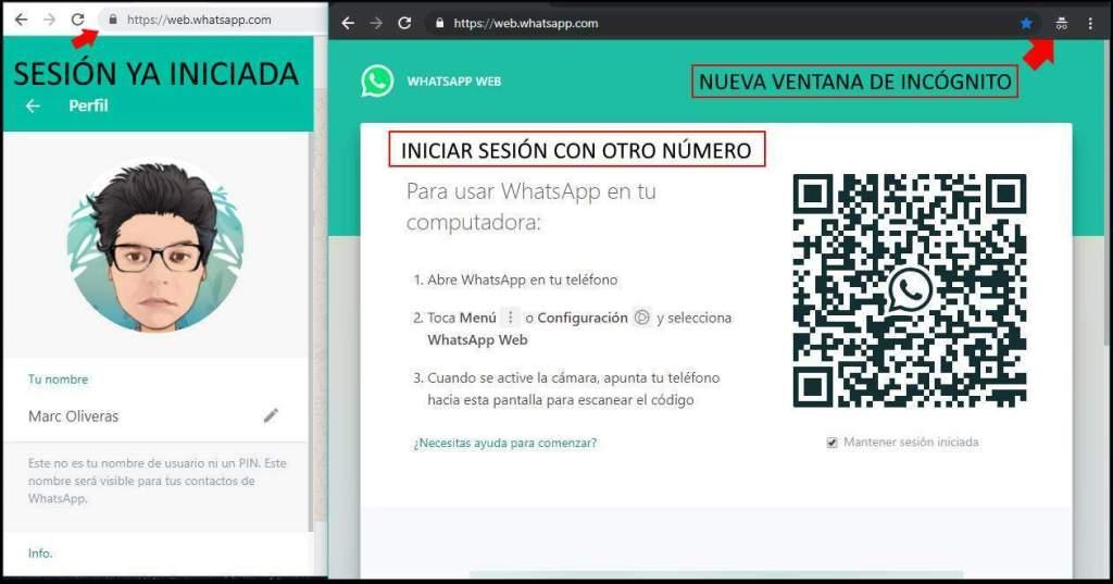 iniciar sesion con dos cuentas whatsapp web