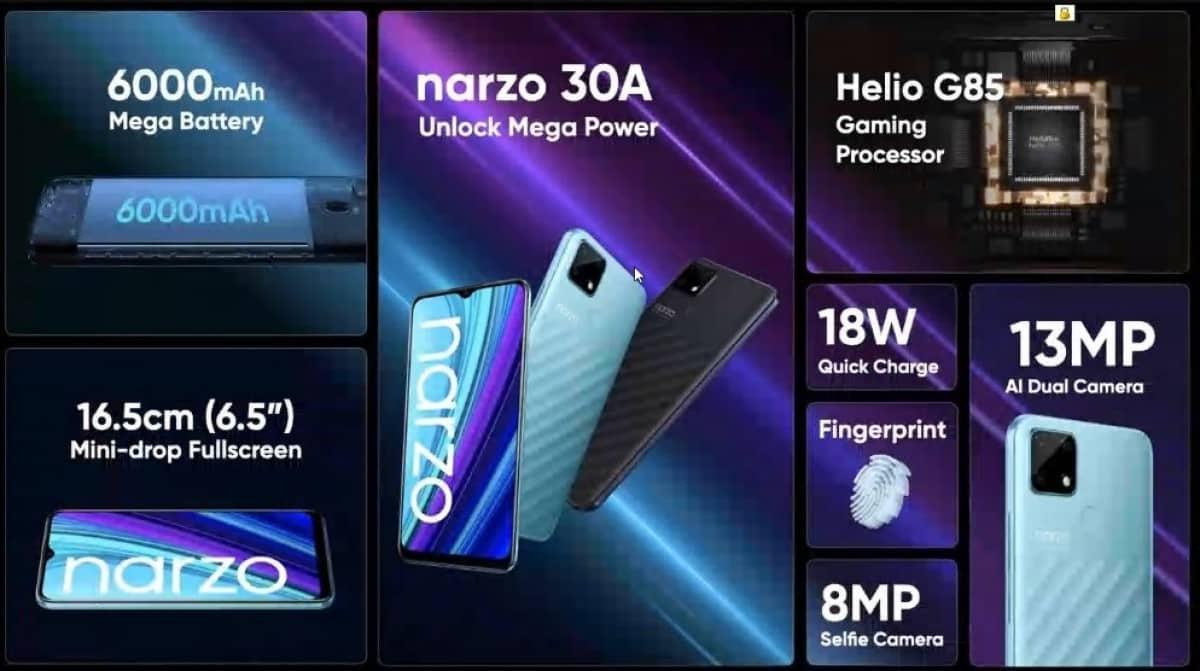 Realme Narzo 30A features