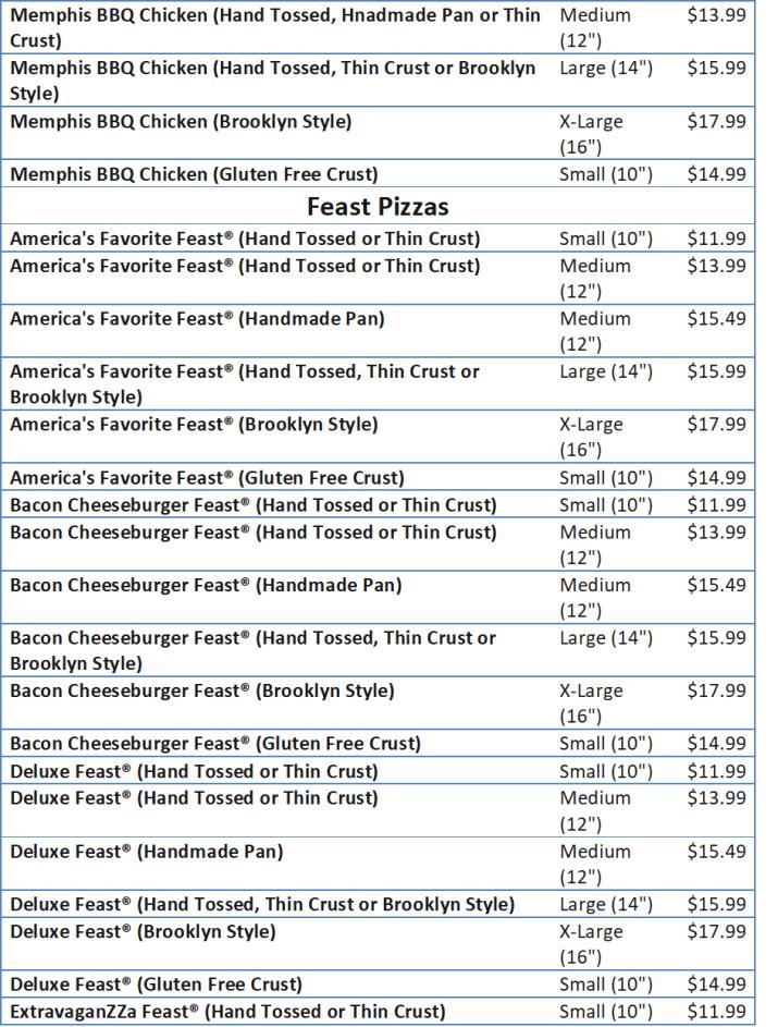 domino pizza menu price list