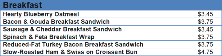 starbucks menu and prices