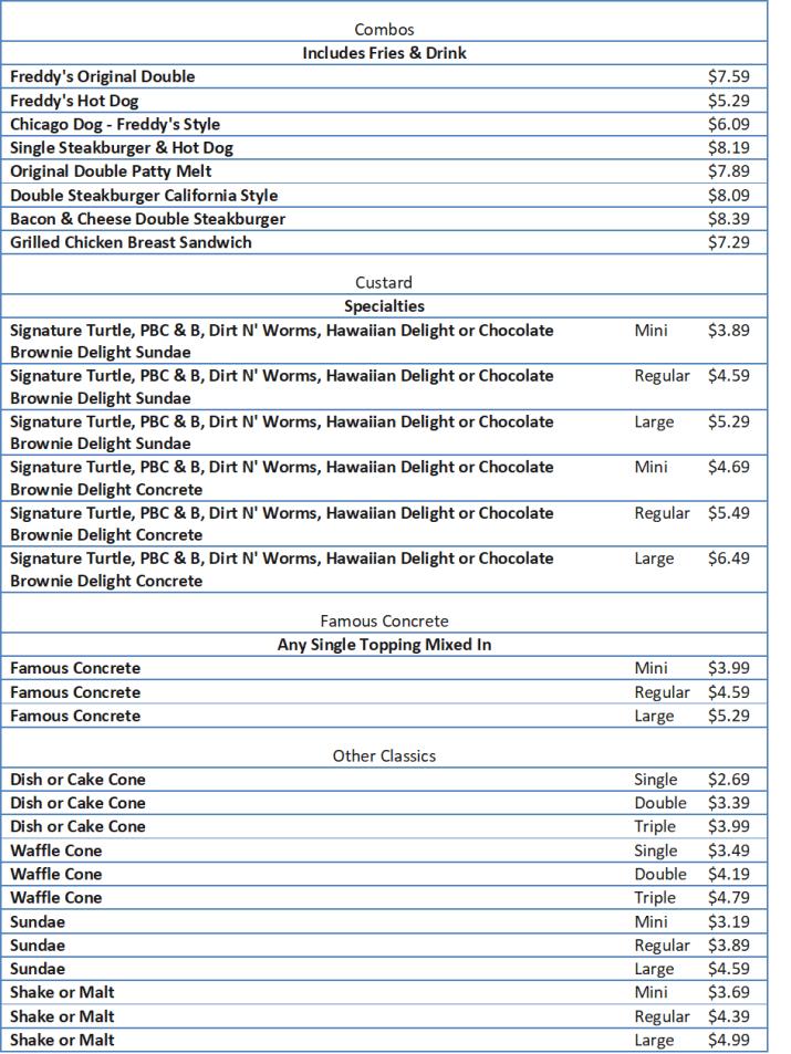 freddys menu prices