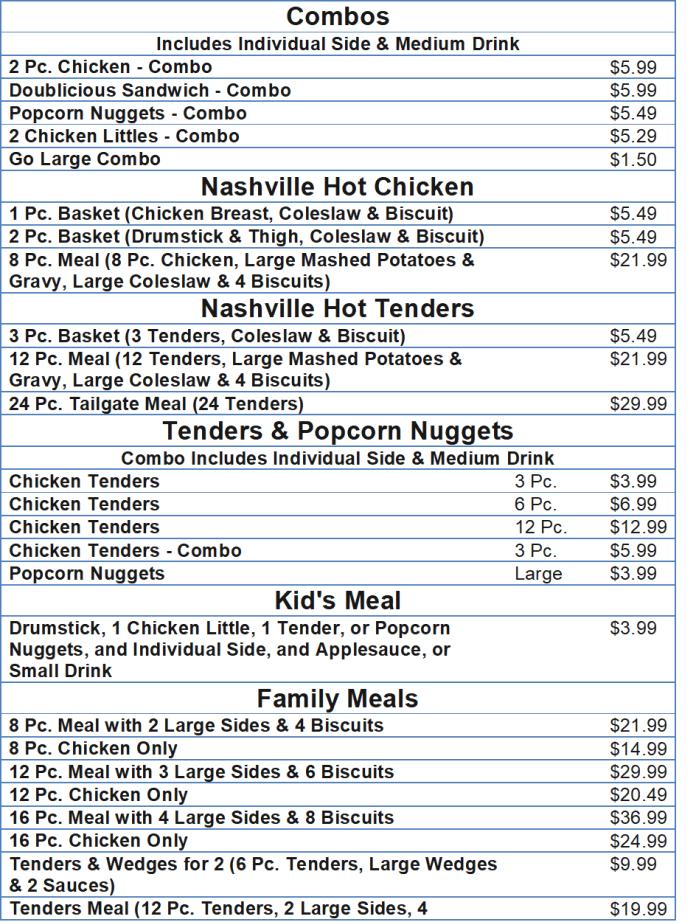 kfc menu with prices
