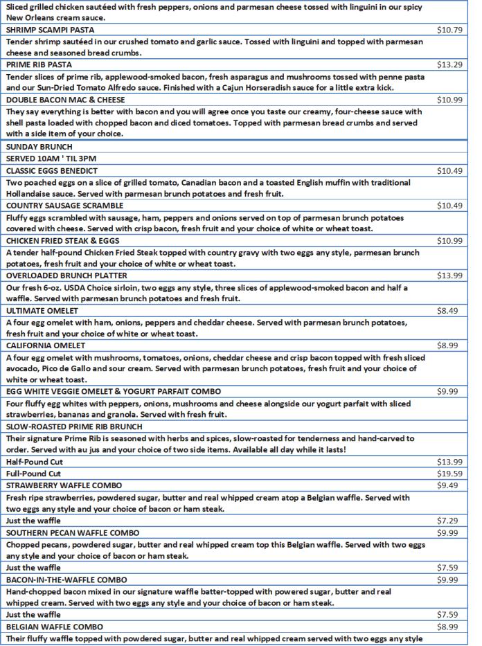 ocharleys menu with prices