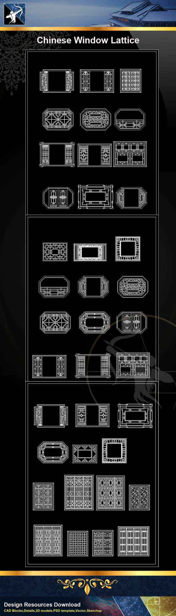 ★【Chinese Window Lattice CAD Blocks】@Autocad Blocks,Drawings,CAD  Details,Elevation
