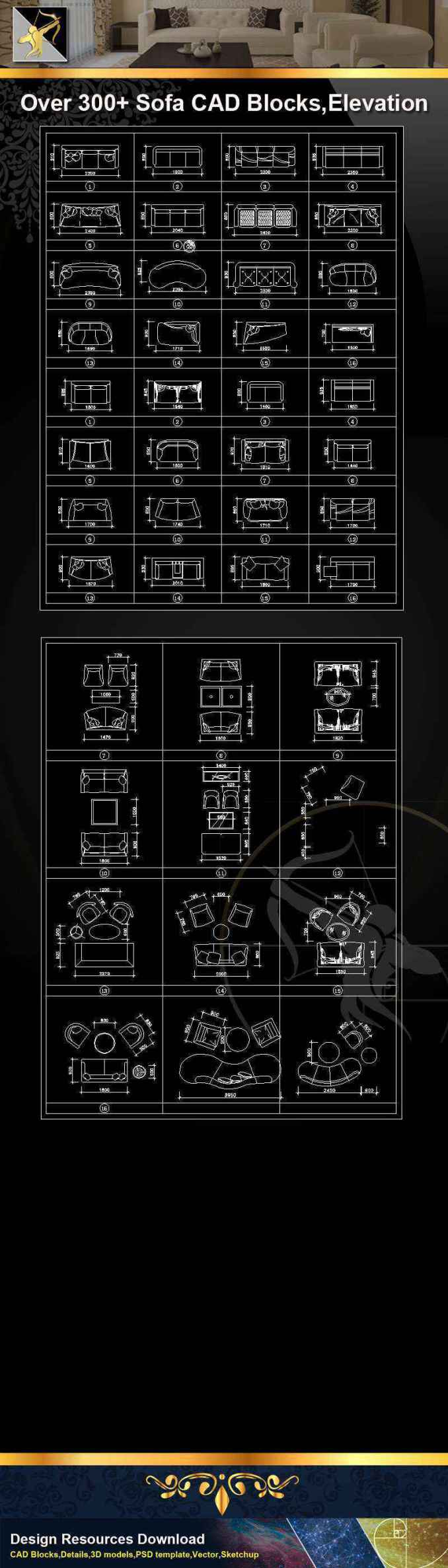 ★【Sofa CAD Blocks】@Autocad Blocks,Drawings,CAD Details,Elevation