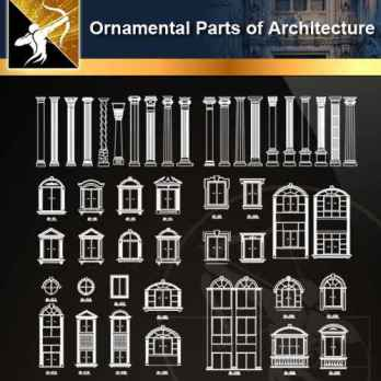 ★【Ornamental Parts of Architecture -Decoration Element CAD Blocks V.7】@Autocad Decoration Blocks,Drawings,CAD Details,Elevation