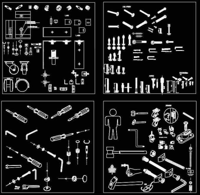 Over 2000 Hardware Accessories CAD blocks