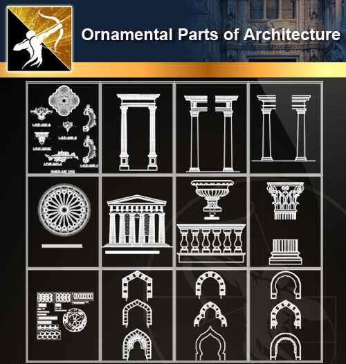 ★【Ornamental Parts of Architecture -Decoration Element CAD Blocks  V 2】@Autocad Decoration Blocks,Drawings,CAD Details,Elevation - Free CAD