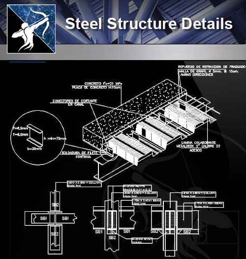 【Architecture CAD Details Collections】Steel Structure Details V 3 - Free  CAD Download World-Download CAD Drawings