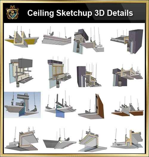 【Best 70 Types Ceiling Sketchup 3D Detail Models】 (★Recommanded★) - Free  CAD Download World-Download CAD Drawings