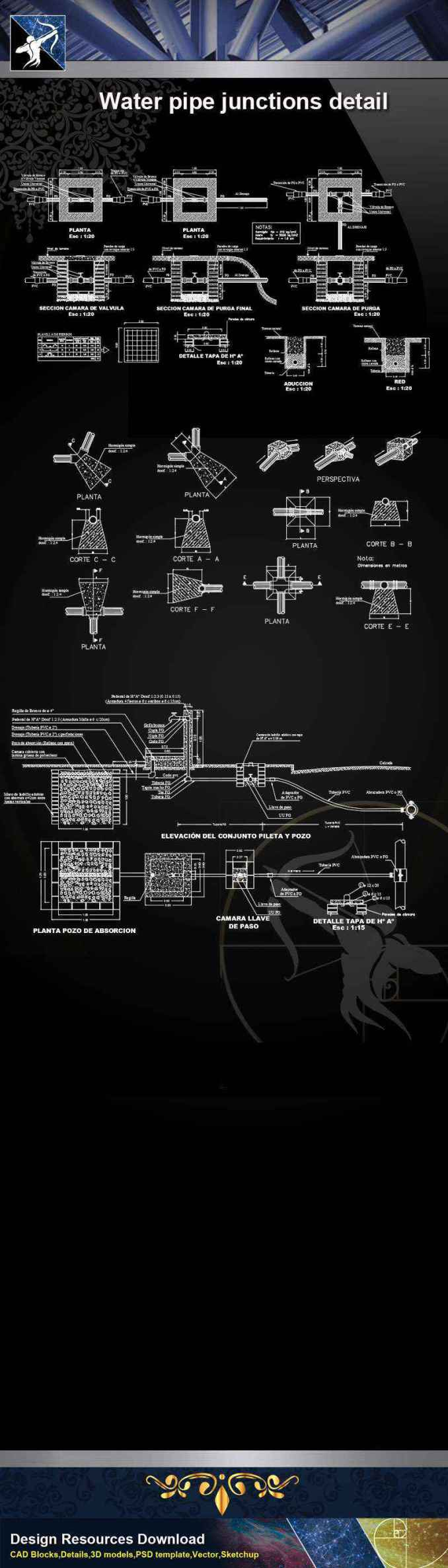 【Architecture CAD Details Collections】Water pipe junctions detail,Sanitations CAD Details