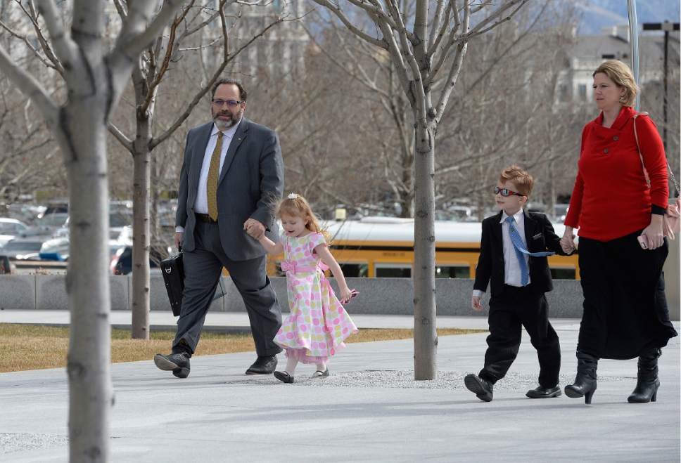 Scott Sommerdorf | The Salt Lake Tribune Rick Koerber arrives with some of his family to Federal Courthouse in Salt Lake City, Thursday, February 16, 2017.