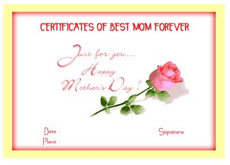 More Mom Certificates for Mothers Day