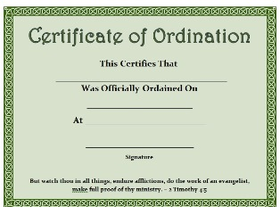 Free Printable Certificate Certificate of Ordination