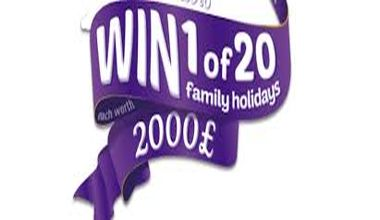 win 1 of 20 family holidays worth 2000 pound free