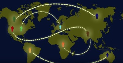 illustration of VOIP connecting users from around the world