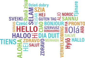 """""""hello"""" text in different languages and colours"""