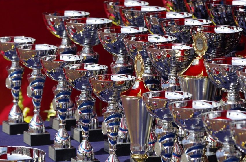 many rows of awards on a table