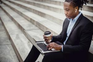 black man on laptop
