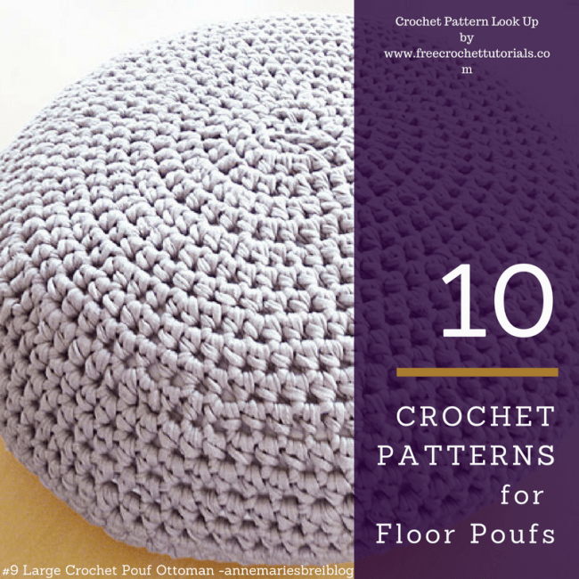 10 Crochet Patterns for TShirt Yarn Floor Poufs  Free