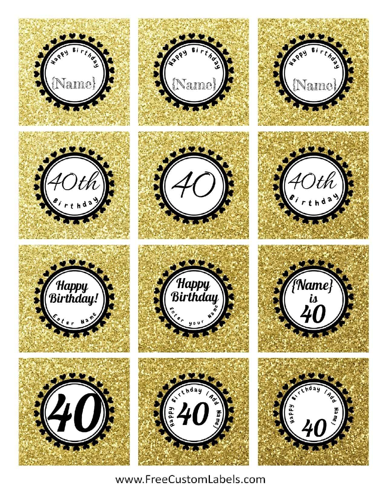 40th Birthday Cupcake Toppers