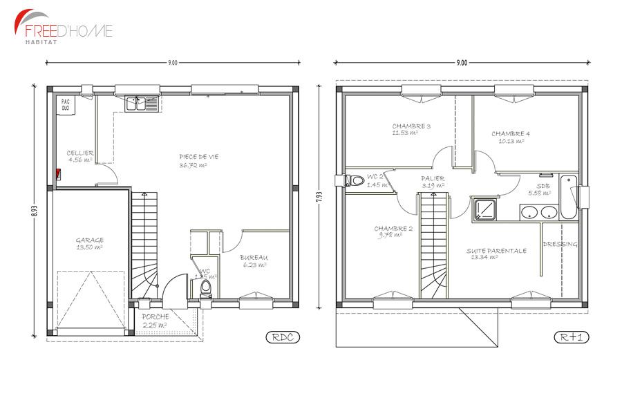 plan de maison 90m2 a etage