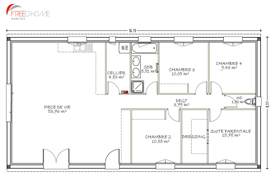 freedhome modele rectangle d2 115m2