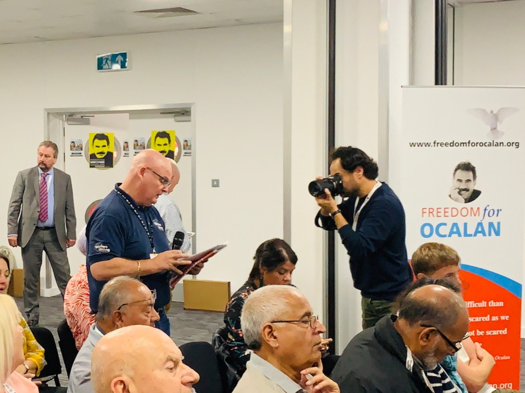 """Tom Murphy London Print Branch, Unite GPM & IT Sector and Executive Council GPM & IT, Unite the Union, speakingt from the floor at """"The battle for Turkey's future"""" fringe at TUC 2019 Freedom for Ocalan"""