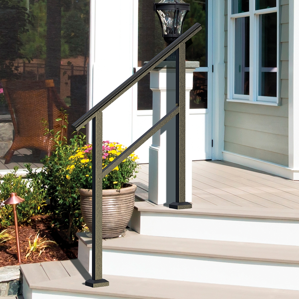 Heathrow Aluminum Rail Freedom | Aluminum Outdoor Stair Railing | 2 Step | Pressure Treated Deck Black | Commercial | Modern | Front Entrance