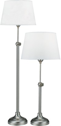 Satin Nickel 2-Piece Adjustable Floor and Table Lamp Set ...