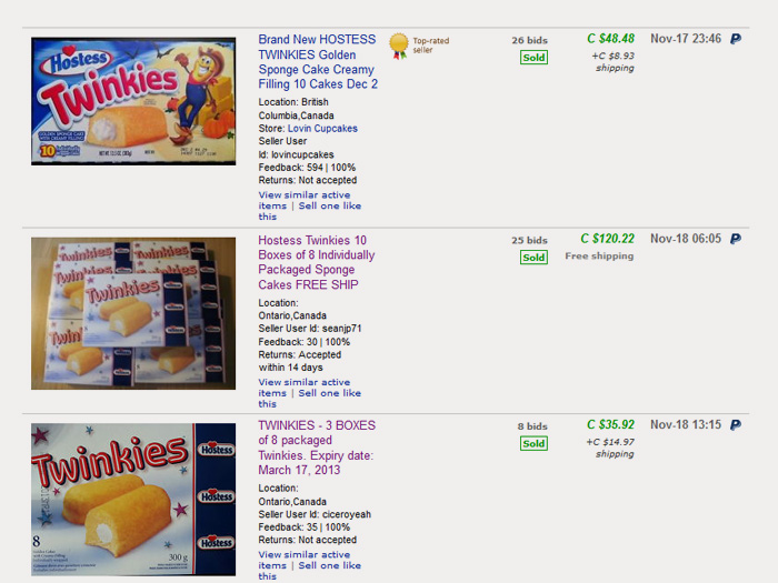 Twinkies sold in Canada