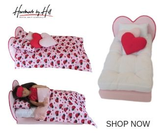Upholstered Pink and Red Heart Doll Bed for 18 inch dolls