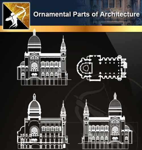 ★【Ornamental Parts of Architecture -Decoration Element CAD Blocks  V 5】@Autocad Decoration Blocks,Drawings,CAD Details,Elevation - Free  Download