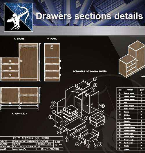 【Architecture CAD Details Collections】Drawers sections detail in autocad  dwg files - Free Download Architectural Cad Drawings