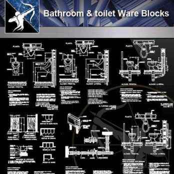 【Architecture CAD Details Collections】Bathroom & Toilet Ware CAD Blocks
