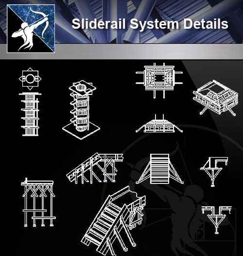 【Architecture CAD Details Collections】Sliderail System Details CAD Details